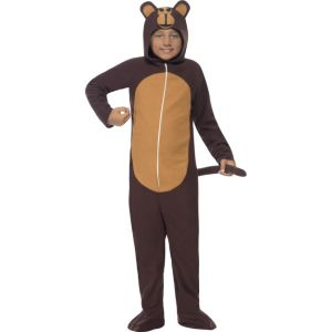 55007 - Monkey Costume, Brown, All In One With Hood
