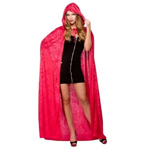 Deluxe Velvet Cape With Hood - Red
