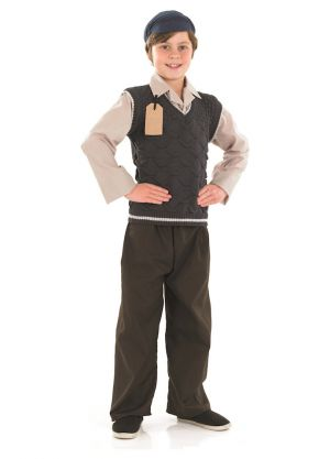 Evacuee School Boy - Pull Over With Shirt Insert, Trousers & Hat