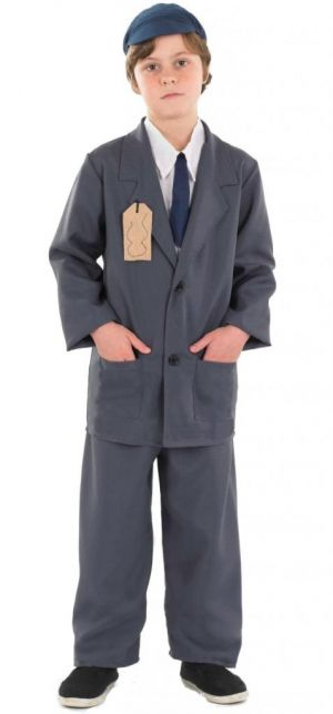 Evacuee Boy - Jacket With Shirt & Tie Insert, Trousers & Hat