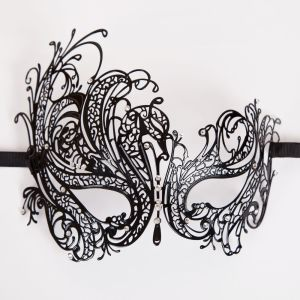 Metal D Eye Mask - Matt Black, Diamantes