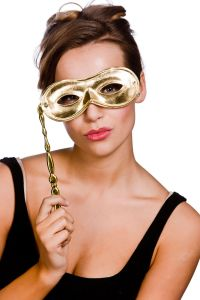 Metallic Eyemask With Handle - Gold