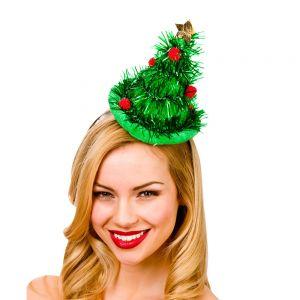 Mini Tinsel Tree Hat On Headand