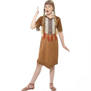 Native American Inspired Girl Costume, Brown, With Dress & Headband