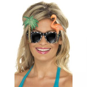 Specs, Black, With Flamingo And Palm Tree