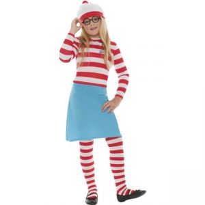 Where\'s Wally Child Costume, Includes Hat, Top, Skirt, Glasses And Tights
