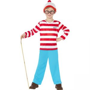 Where\'s Wally Costume, Red, Includes Top, Trousers, Glasses And Hat