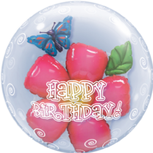 Happy Birthday Flower Double Bubble Balloon